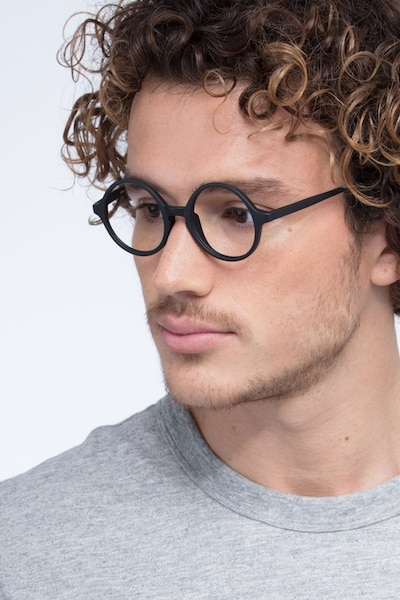 Years Black Plastic Eyeglass Frames for Men from EyeBuyDirect, Front View