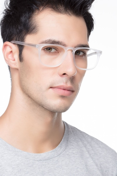 Rhode Island Matte Clear Acetate Eyeglass Frames for Men from EyeBuyDirect, Front View