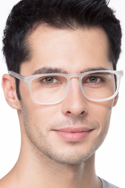 Rhode Island Matte Clear Acetate Eyeglass Frames for Men from EyeBuyDirect