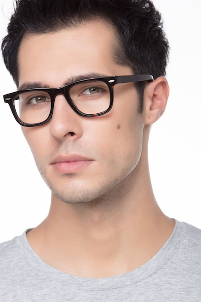 Blizzard Dark Tortoise Acetate Eyeglass Frames for Men from EyeBuyDirect, Front View