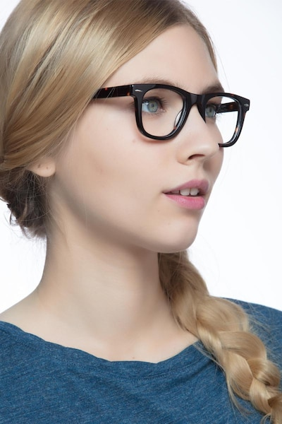 Blizzard Dark Tortoise Acetate Eyeglass Frames for Women from EyeBuyDirect, Front View