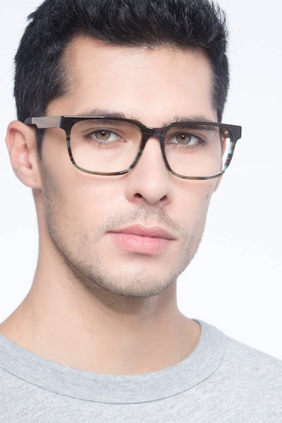Belmont Coffee Acetate Eyeglass Frames for Men from EyeBuyDirect, Front View
