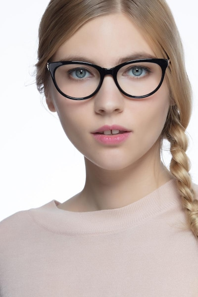 Her Black Acetate Eyeglass Frames for Women from EyeBuyDirect, Front View