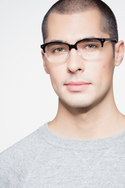 Escape Clear Black Acetate Eyeglass Frames for Men from EyeBuyDirect