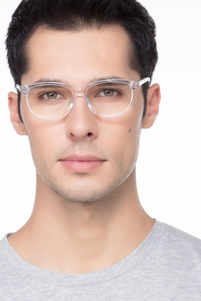 Escape Clear Acetate Eyeglass Frames for Men from EyeBuyDirect, Front View