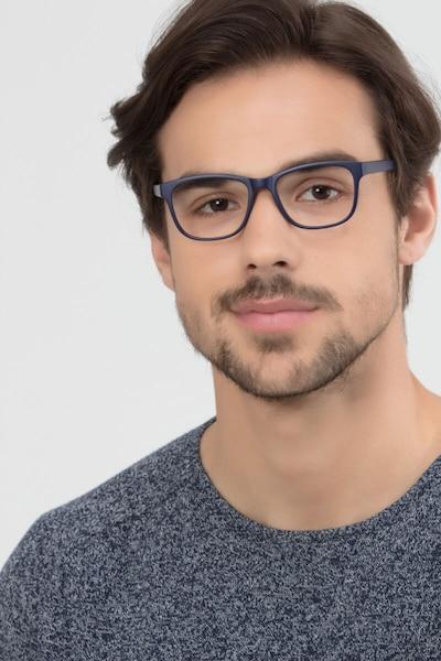 Milo Matte Navy Plastique Montures de Lunettes pour Hommes d'EyeBuyDirect, Vue de Face