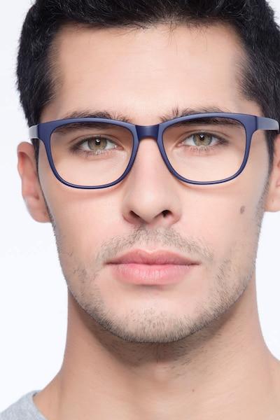 Milo Matte Navy Plastique Montures de Lunette de vue pour Hommes d'EyeBuyDirect