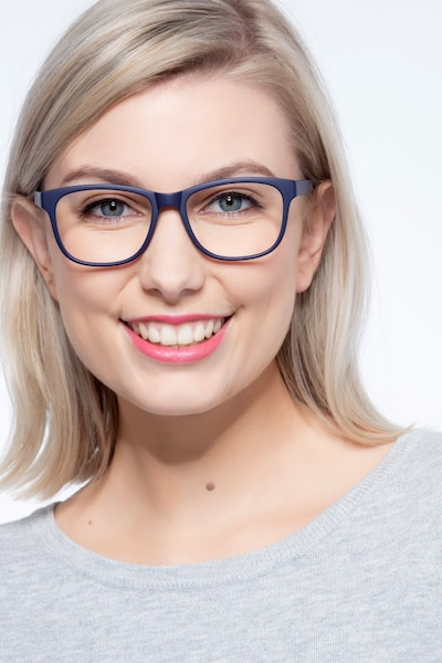 Milo Matte Navy Plastic Eyeglass Frames for Women from EyeBuyDirect, Front View
