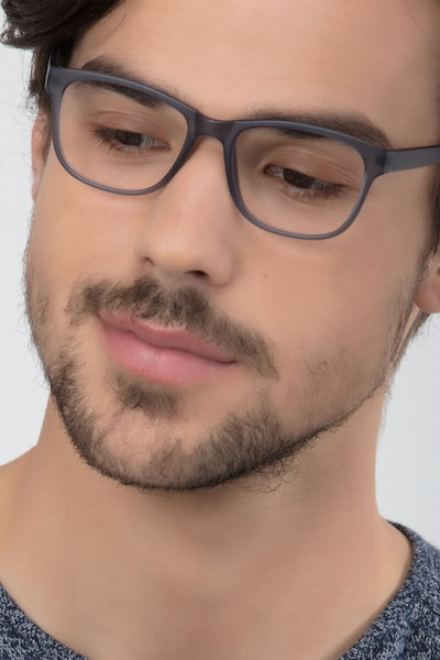 Milo Matte Gray Plastic Eyeglass Frames for Men from EyeBuyDirect