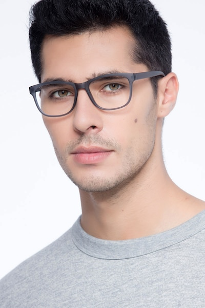 Milo Matte Gray Plastic Eyeglass Frames for Men from EyeBuyDirect, Front View