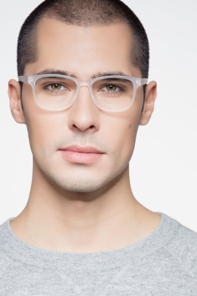Milo Frosted Clear Plastic Eyeglass Frames for Men from EyeBuyDirect, Front View