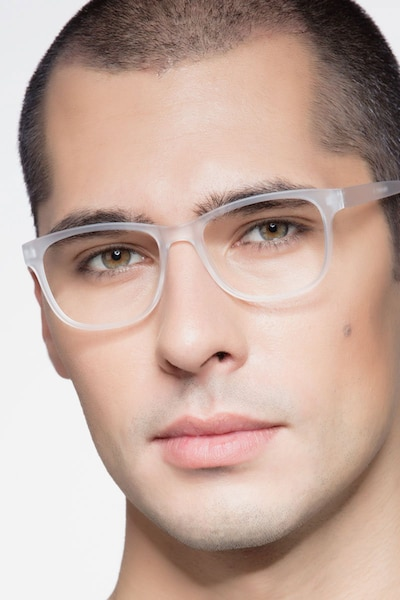 Milo Frosted Clear Plastic Eyeglass Frames for Men from EyeBuyDirect