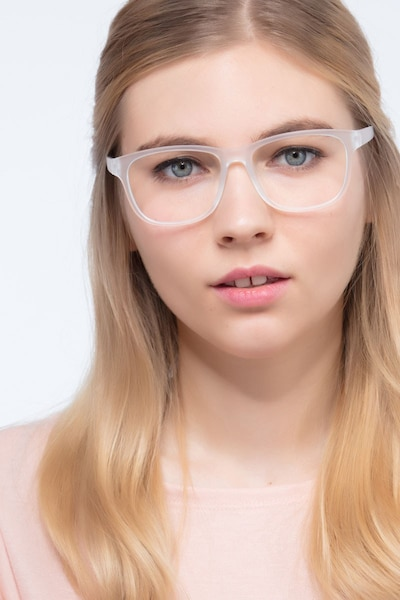 Milo Frosted Clear Plastic Eyeglass Frames for Women from EyeBuyDirect