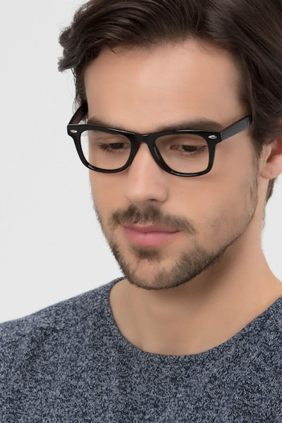 Atlee Black Plastic Eyeglass Frames for Men from EyeBuyDirect