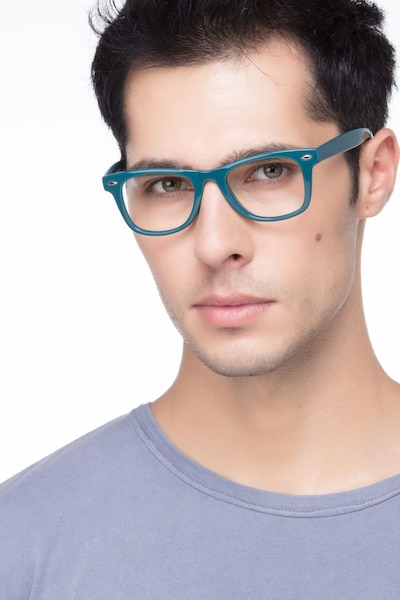 Atlee Green Plastic Eyeglass Frames for Men from EyeBuyDirect, Front View