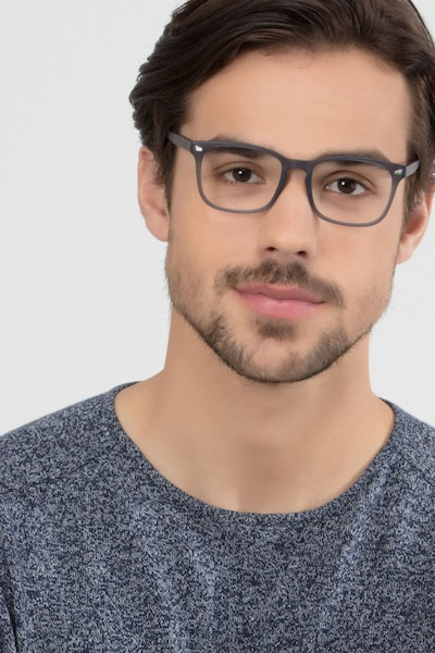 Uptown Matte Gray Plastic Eyeglass Frames for Men from EyeBuyDirect, Front View