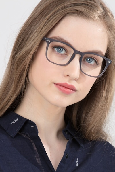 Uptown Matte Gray Plastic Eyeglass Frames for Women from EyeBuyDirect, Front View