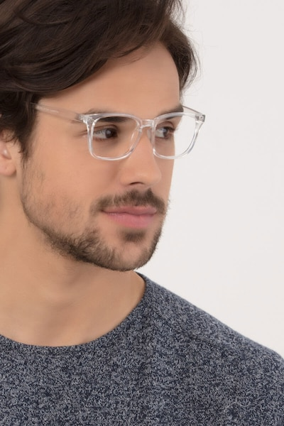 Uptown Clear Plastic Eyeglass Frames for Men from EyeBuyDirect, Front View