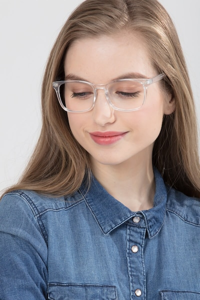 Uptown Clear Plastic Eyeglass Frames for Women from EyeBuyDirect, Front View