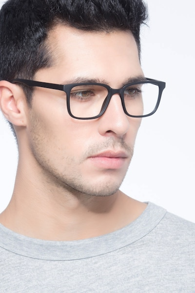 November Matte Black Plastic Eyeglass Frames for Men from EyeBuyDirect, Front View