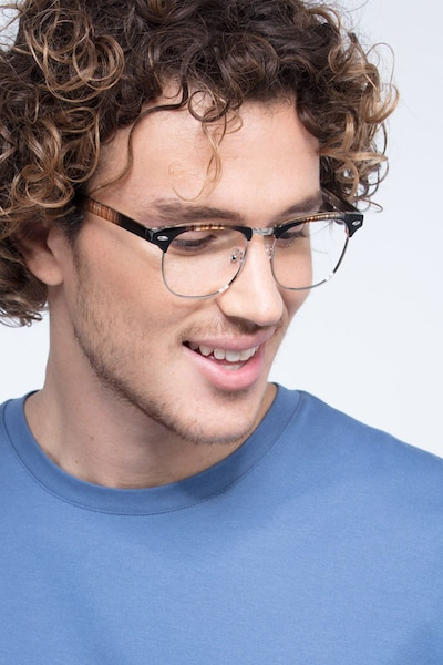 Coexist Striped Metal Eyeglass Frames for Men from EyeBuyDirect, Front View