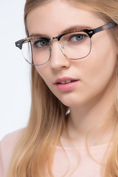 Coexist Striped Metal Eyeglass Frames for Women from EyeBuyDirect, Front View