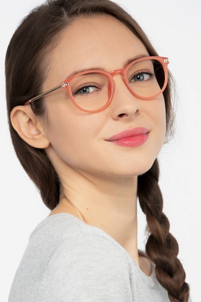 Daphne Pink Plastic Eyeglass Frames for Women from EyeBuyDirect, Front View