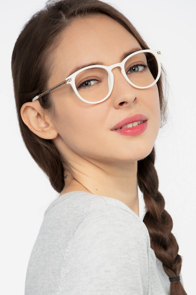 Daphne White Plastic Eyeglass Frames for Women from EyeBuyDirect, Front View