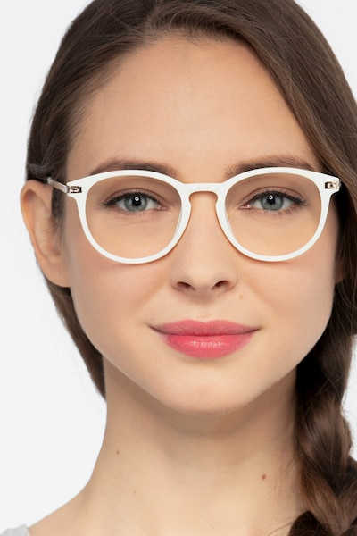 Daphne White Plastic Eyeglass Frames for Women from EyeBuyDirect