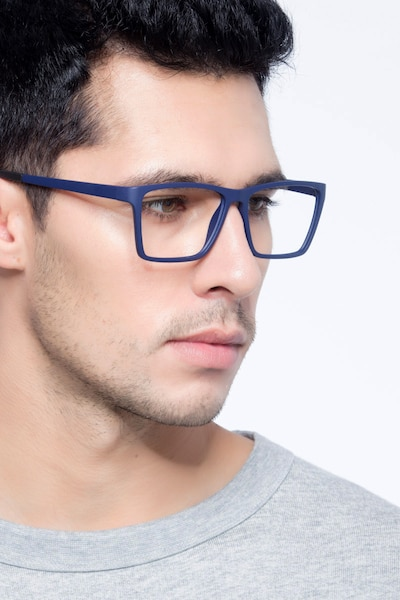 Equation Matte Navy Plastic Eyeglass Frames for Men from EyeBuyDirect, Front View