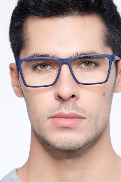 Equation Matte Navy Plastic Eyeglass Frames for Men from EyeBuyDirect