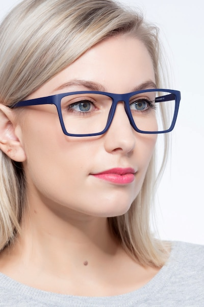 Equation Matte Navy Plastic Eyeglass Frames for Women from EyeBuyDirect, Front View