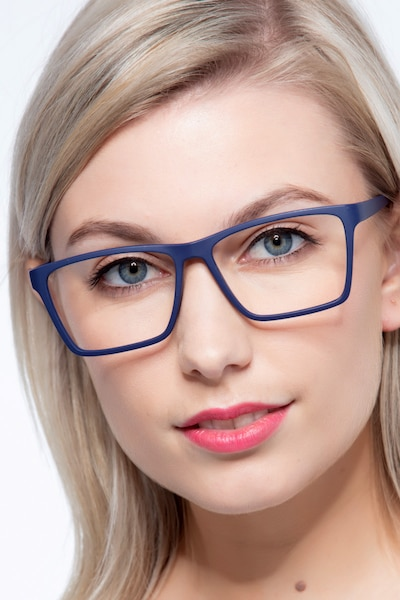 Equation Matte Navy Plastic Eyeglass Frames for Women from EyeBuyDirect