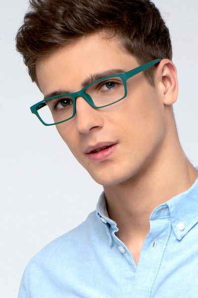 Madras Green Plastic Eyeglass Frames for Men from EyeBuyDirect, Front View