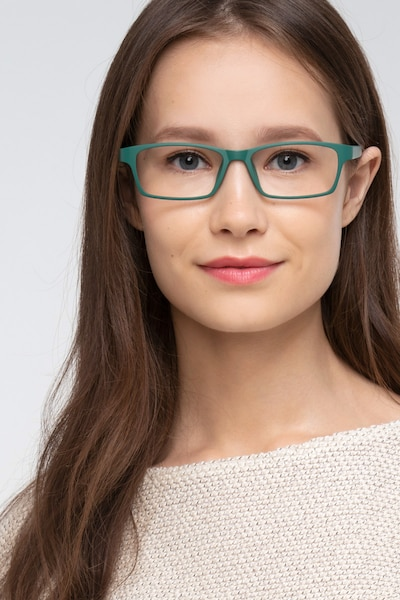 Madras Green Plastic Eyeglass Frames for Women from EyeBuyDirect, Front View