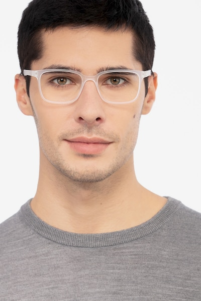 November Matte Clear Plastic Eyeglass Frames for Men from EyeBuyDirect, Front View