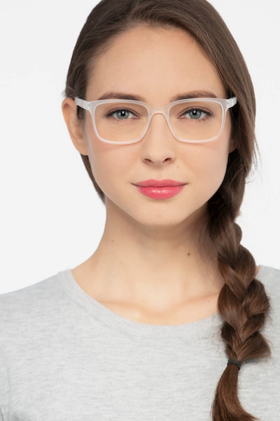 November Matte Clear Plastic Eyeglass Frames for Women from EyeBuyDirect, Front View