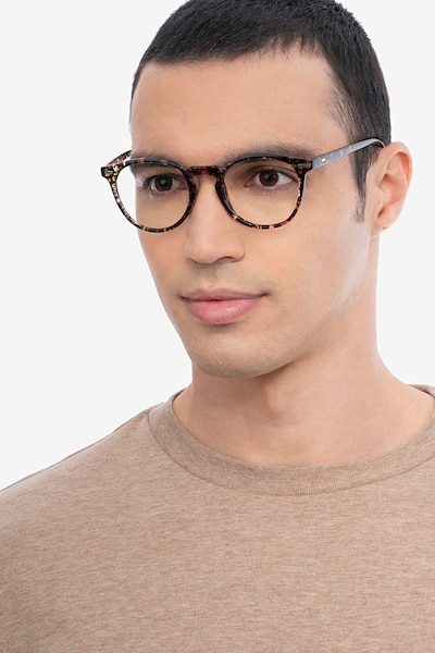 Peninsula Red Floral Plastic Eyeglass Frames for Men from EyeBuyDirect, Front View