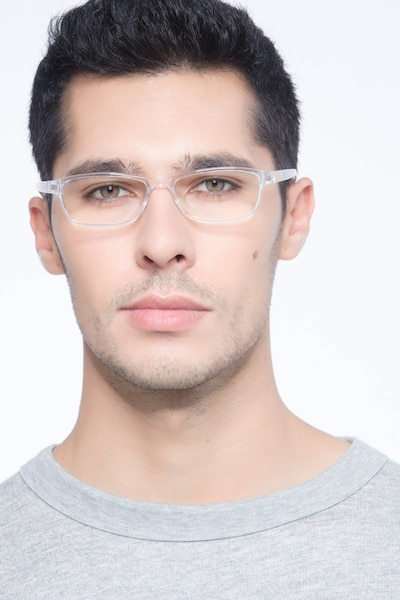 Versus Clear Plastic Eyeglass Frames for Men from EyeBuyDirect, Front View