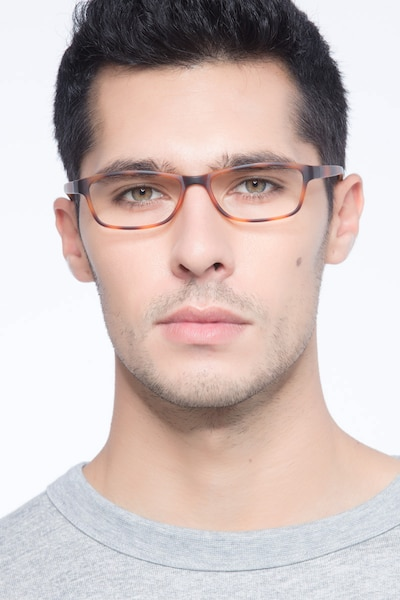 Versus Matte Tortoise Plastic Eyeglass Frames for Men from EyeBuyDirect