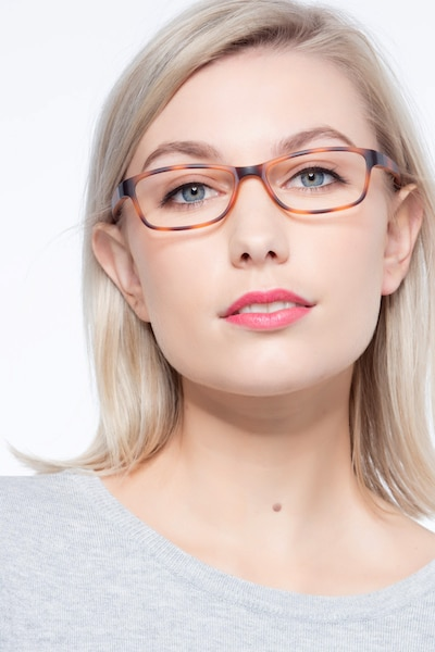 Versus Matte Tortoise Plastic Eyeglass Frames for Women from EyeBuyDirect, Front View