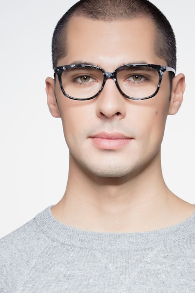 Escape Marbled Gray Acetate Eyeglass Frames for Men from EyeBuyDirect, Front View