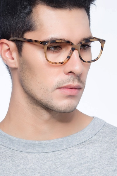 Escape Matte Tortoise Acetate Eyeglass Frames for Men from EyeBuyDirect, Front View