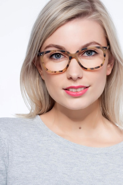 Escape Matte Tortoise Acetate Eyeglass Frames for Women from EyeBuyDirect, Front View