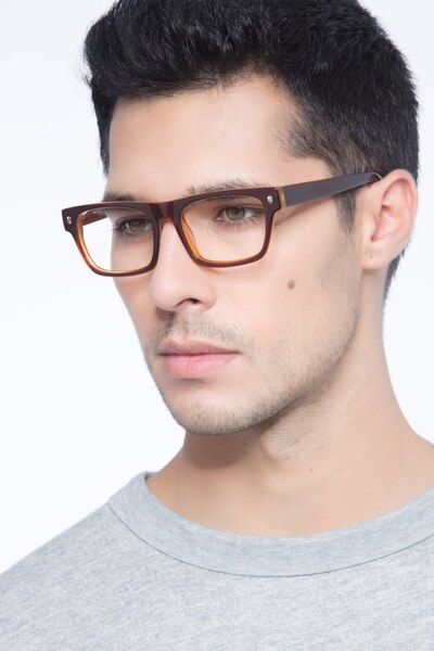 Eastwood Brown Acetate Eyeglass Frames for Men from EyeBuyDirect, Front View