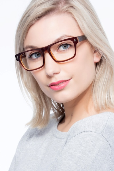 Eastwood Brown Acetate Eyeglass Frames for Women from EyeBuyDirect, Front View