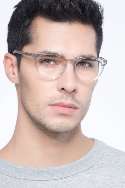 Morning Gray Clear Acetate Eyeglass Frames for Men from EyeBuyDirect, Front View
