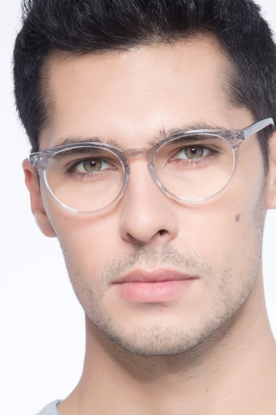 Morning Gray Clear Acetate Eyeglass Frames for Men from EyeBuyDirect