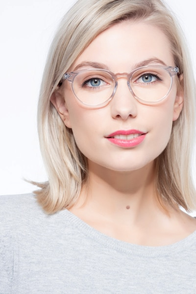 Morning Gray Clear Acetate Eyeglass Frames for Women from EyeBuyDirect, Front View