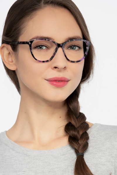 Lancet Purple Floral Acetate Eyeglass Frames for Women from EyeBuyDirect, Front View